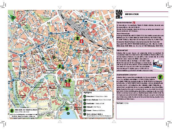 Innenstadtplan Broschüren Tourist Information Hannover