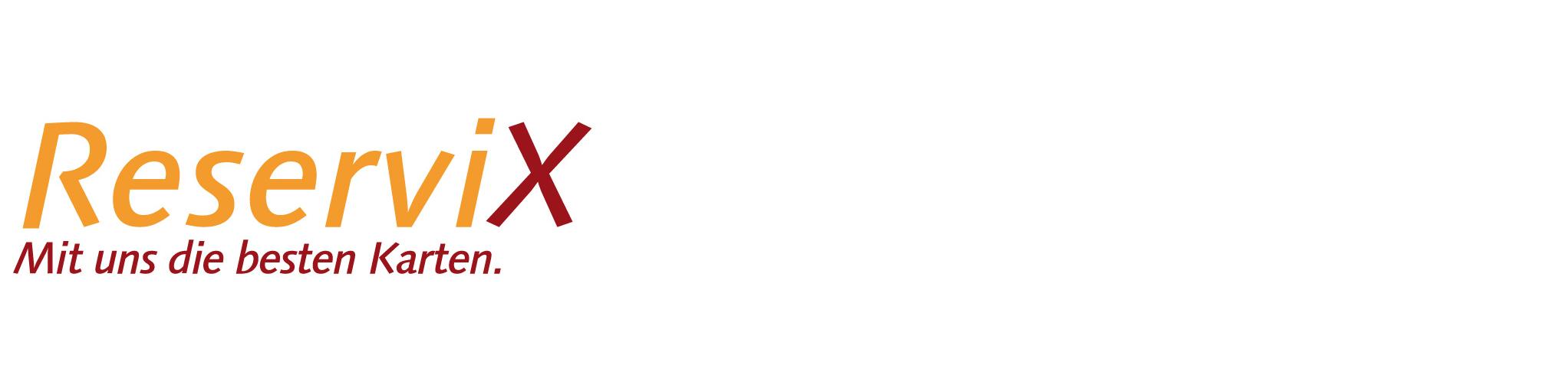 """Farbige Schrift vor weißem Hintergrund: In der oberen Zeile """"Reservi"""" in gelb und ein """"X"""" in rot. In der Zeile darunter in roter Schriftt """"Mit uns die besten Karten""""."""