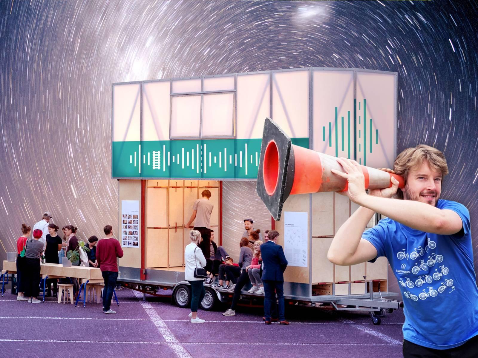 """Eine Collage mit der Forschungsstation """"Wie klingt die Mobilität der Zukunft"""""""