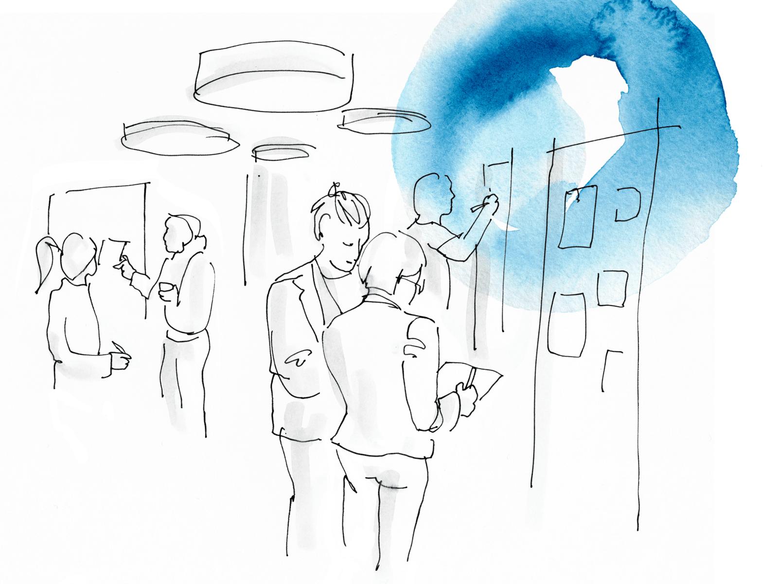 Eine überwiegend weiße Zeichnung, die Menschen im Gespräch in einem Büro zeigt. An den Rändern gelbe und blaue Tuscheränder.