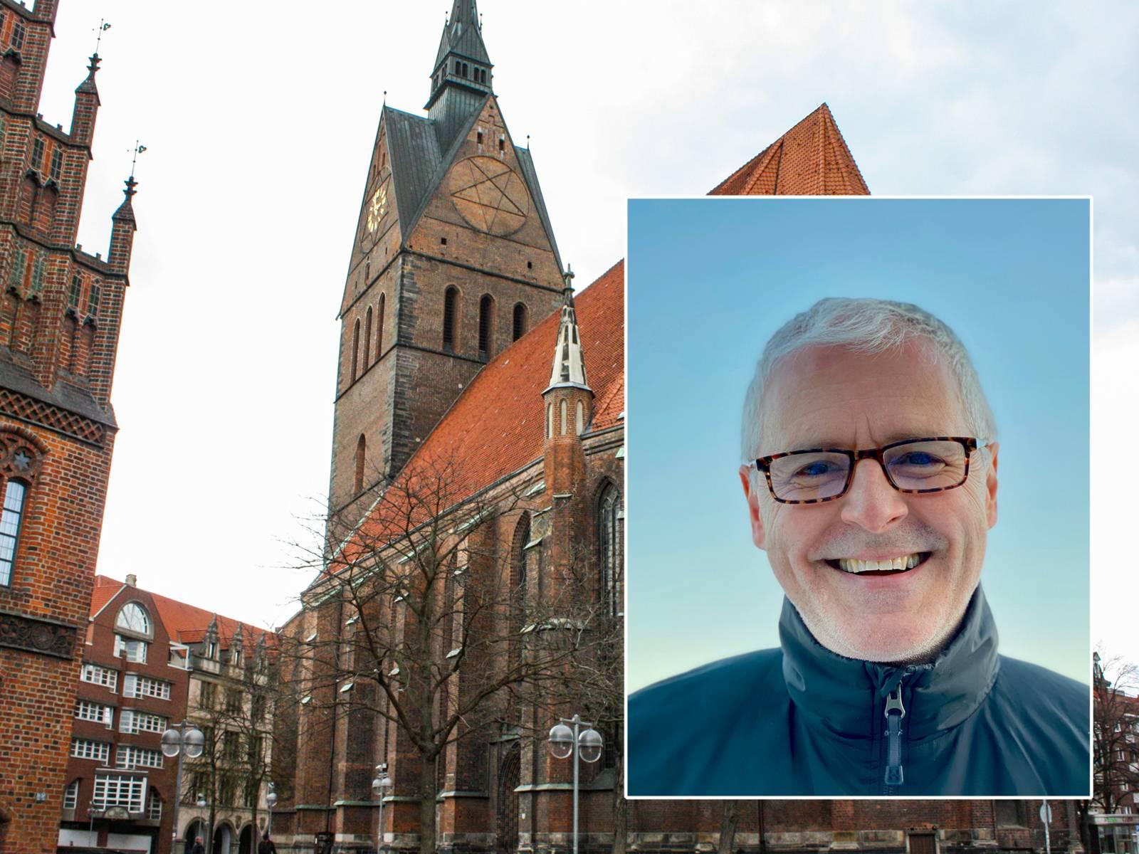 Ein Foto der Marktkirche, rechts im Bild eingeklinkt das Portrait eines Mannes