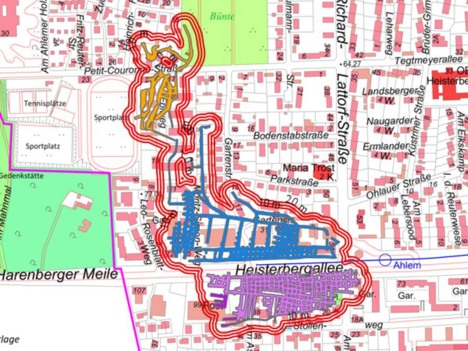 Stadtteilkarte mit blau, lila und gelb markierten Bereichen, an denen die ehemaligen Asphaltstollen unterirdisch liegen.