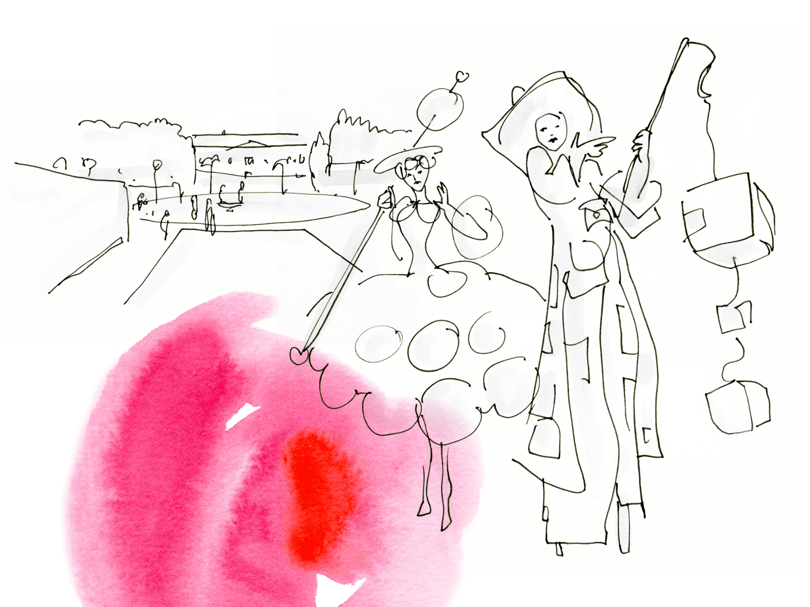 Eine weiß gehaltene Zeichnung von zwei Frauen in extravaganten Kostümen. Am Rand rötliche Farbkleckse.