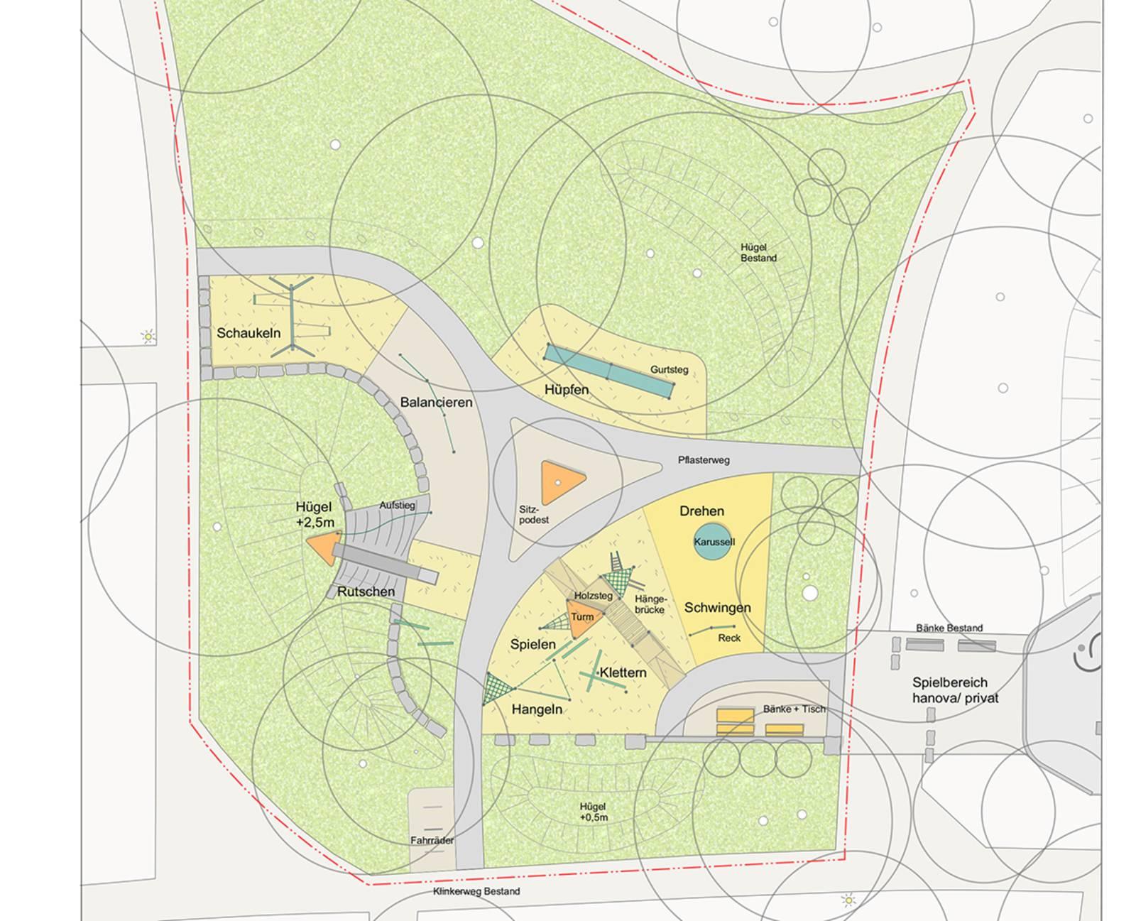 Bauplan des neuen Spielplatzes. Auf ihm sind alle Spielgeräte, Bänke und Flächen eingezeichnet.