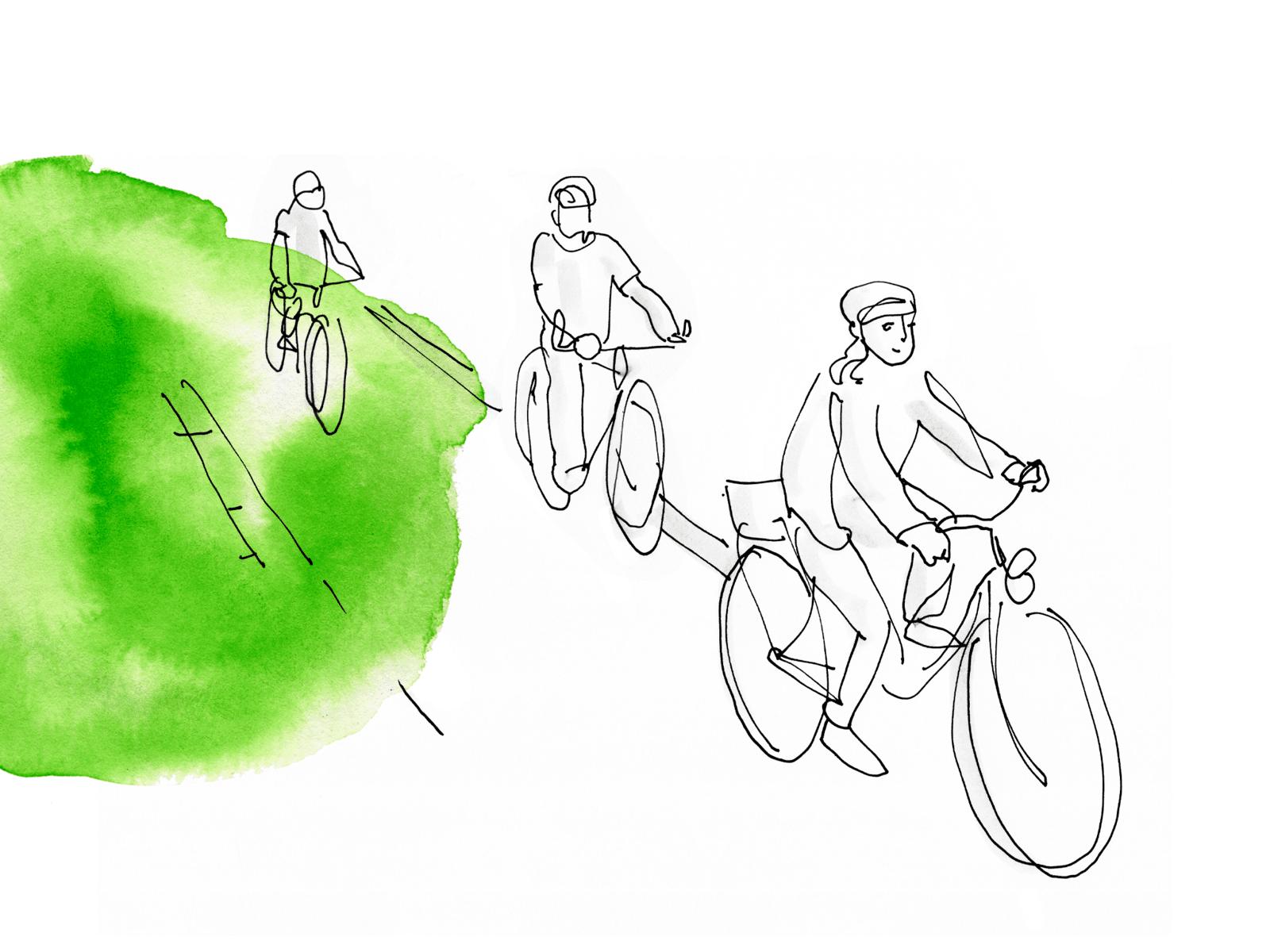 Zeichnung von drei Personen, die Rad fahren. Am Rand des weißen Bildes ist etwas grüne Farbe.