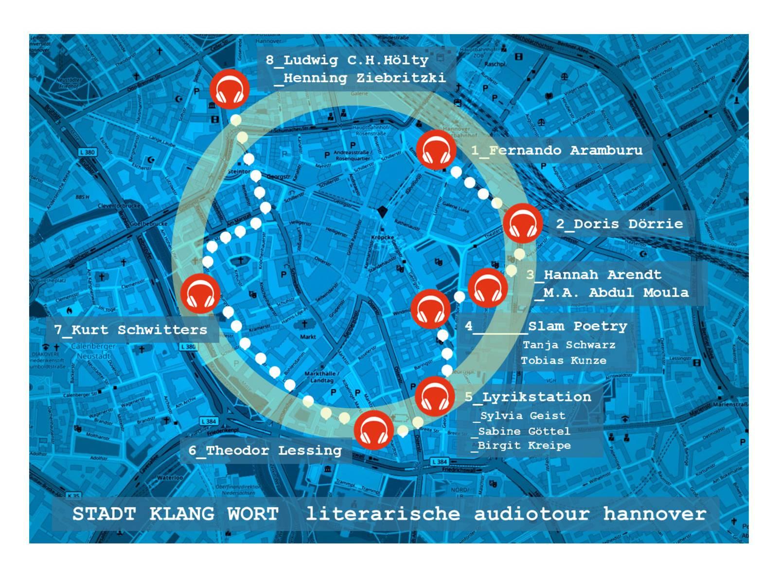 Übersichtsplan der Hörstationen