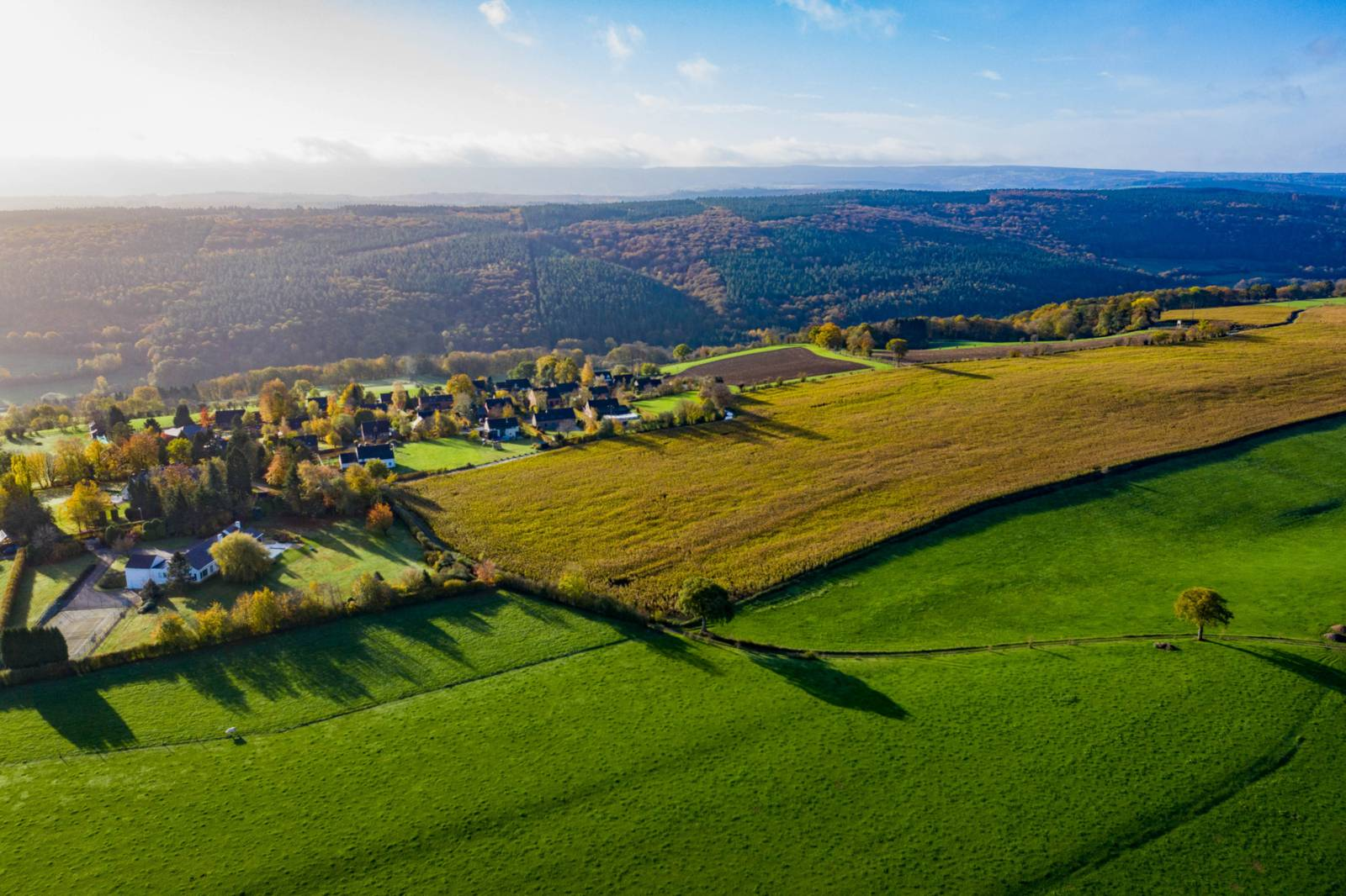 Aerial view of the countryside near Theux, Belgium