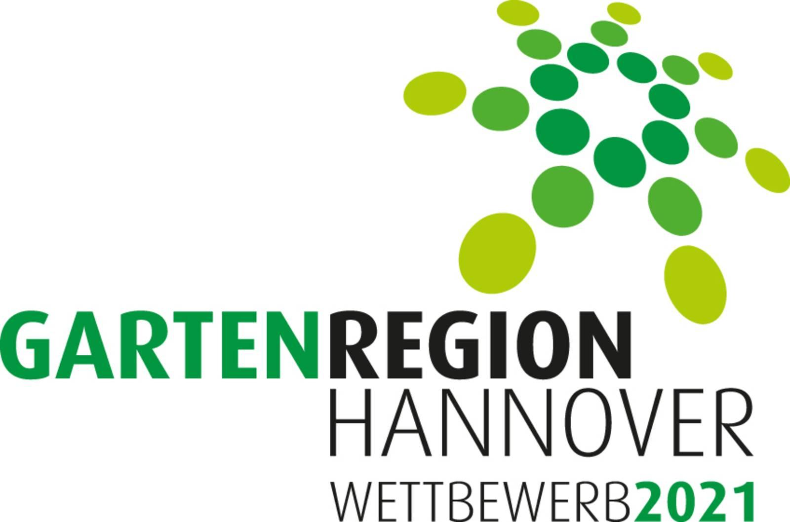 """Eine Wort-Bild-Marke mit grünem Punktelogo und Schriftzug """"Gartenregion Hannover"""" und """"Förderwettbewerb"""""""