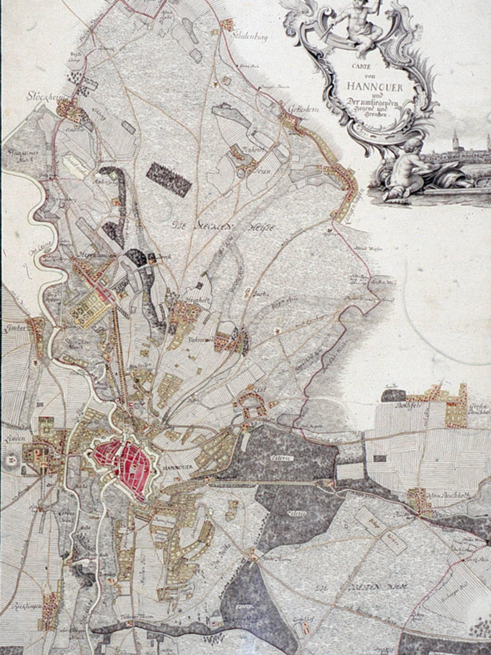 Ausschnitt aus einer alten Karte von Hannover und Umland