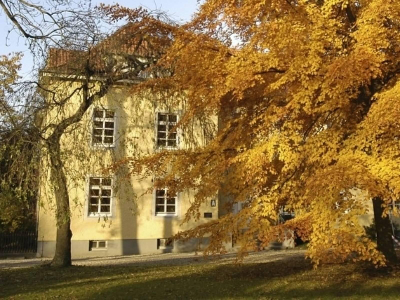 Gelbes Gebäude im Schatten von Bäumen, die bereits Herbstlaub tragen.