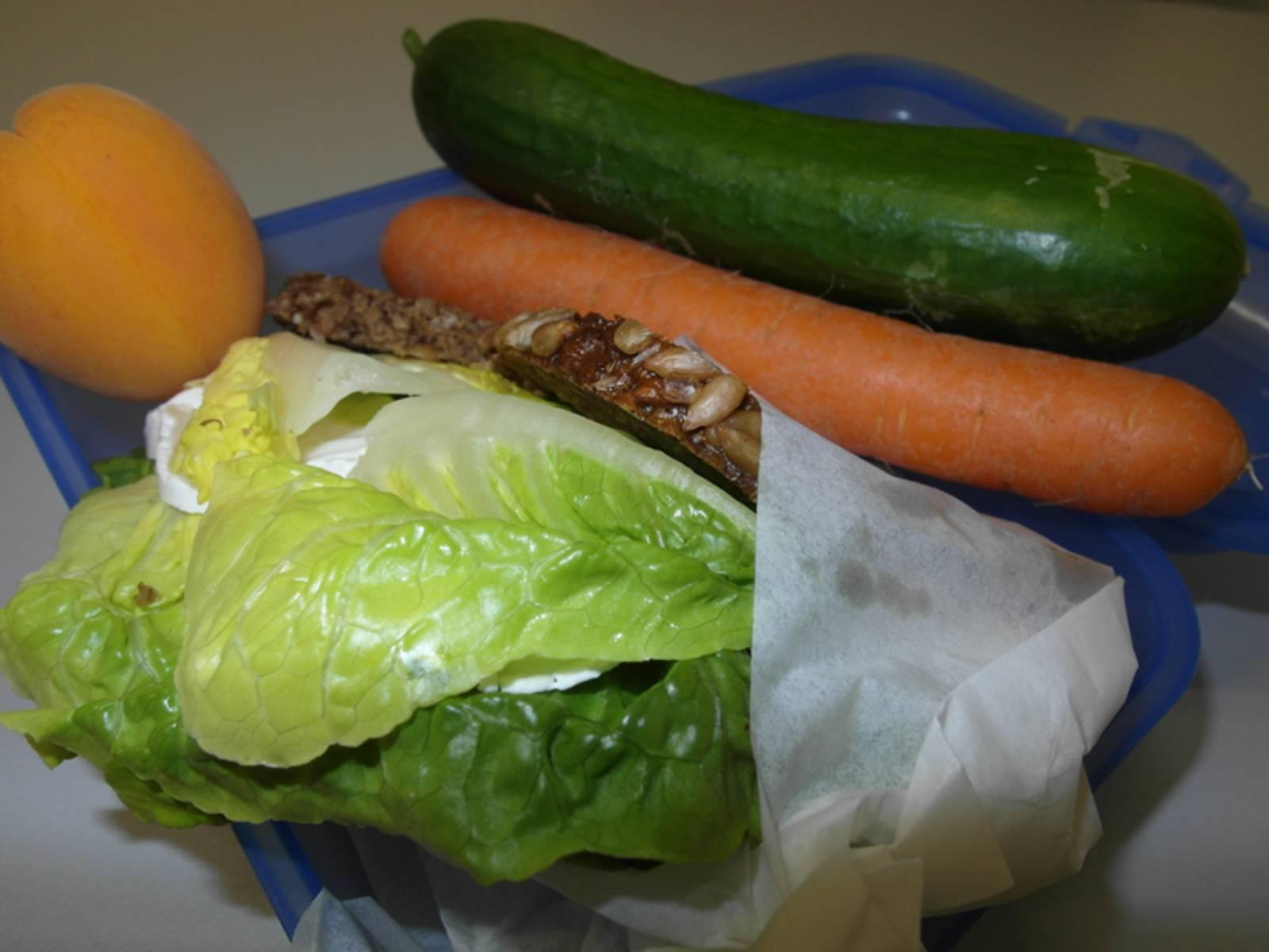 Brotdose mit halbausgewickeltem Brot, Aprikose, Karotte und Gurke