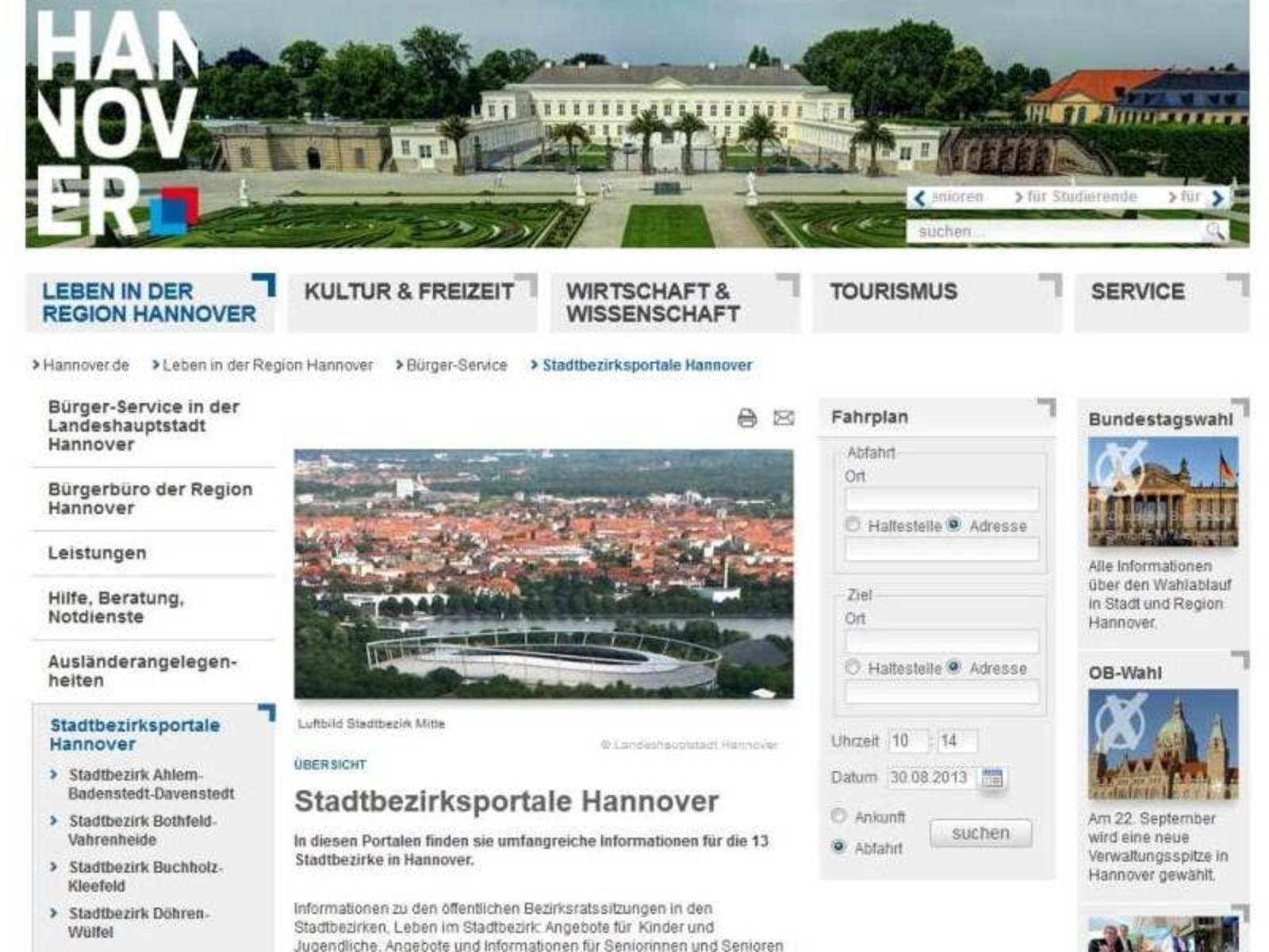 Startseite des Stadtbezirksportals auf Hannover.de