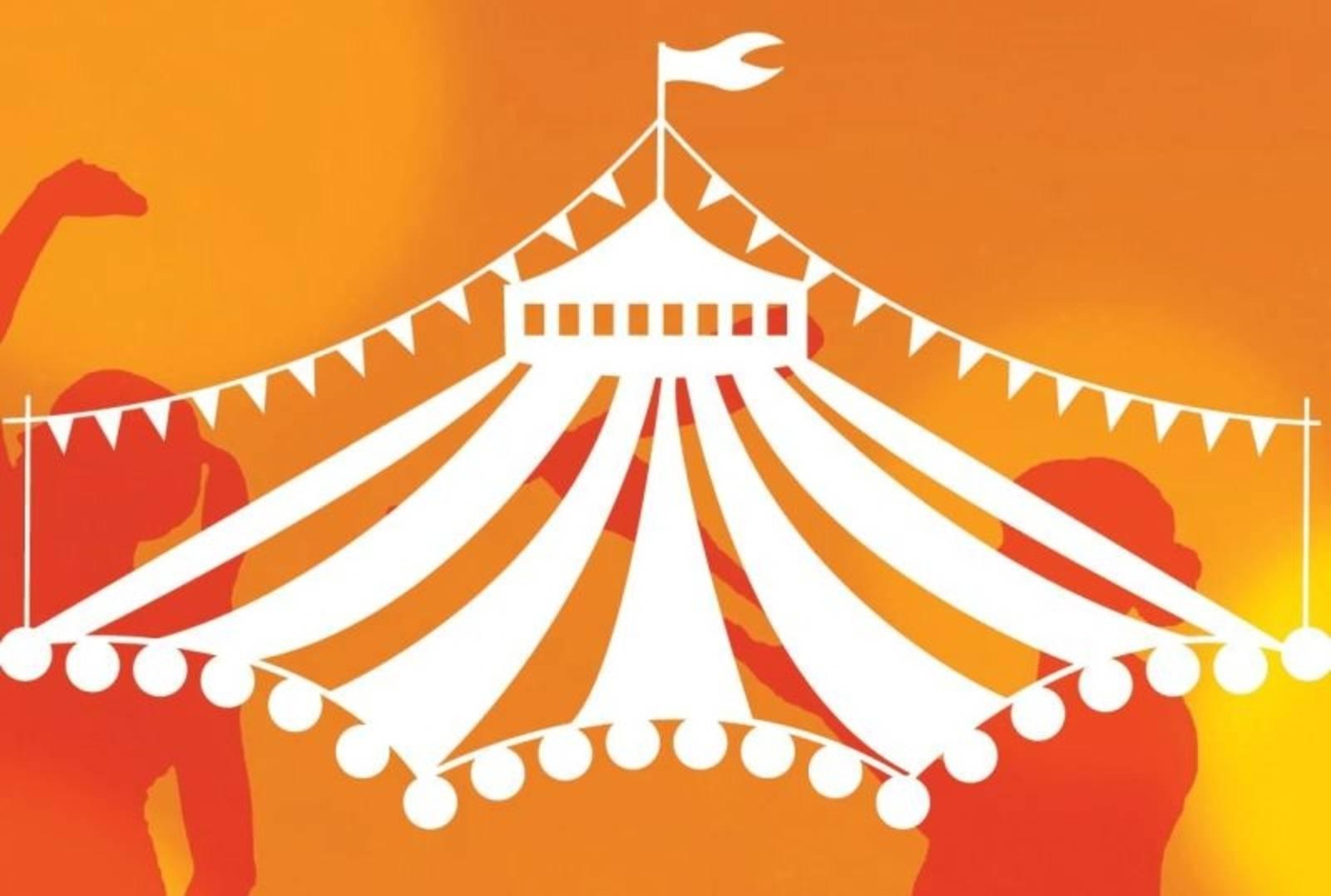 ein Zirkuszeltdach in weiß auf orangenen Untergrund, zwei Silouetten von Artisten flankieren das Dach