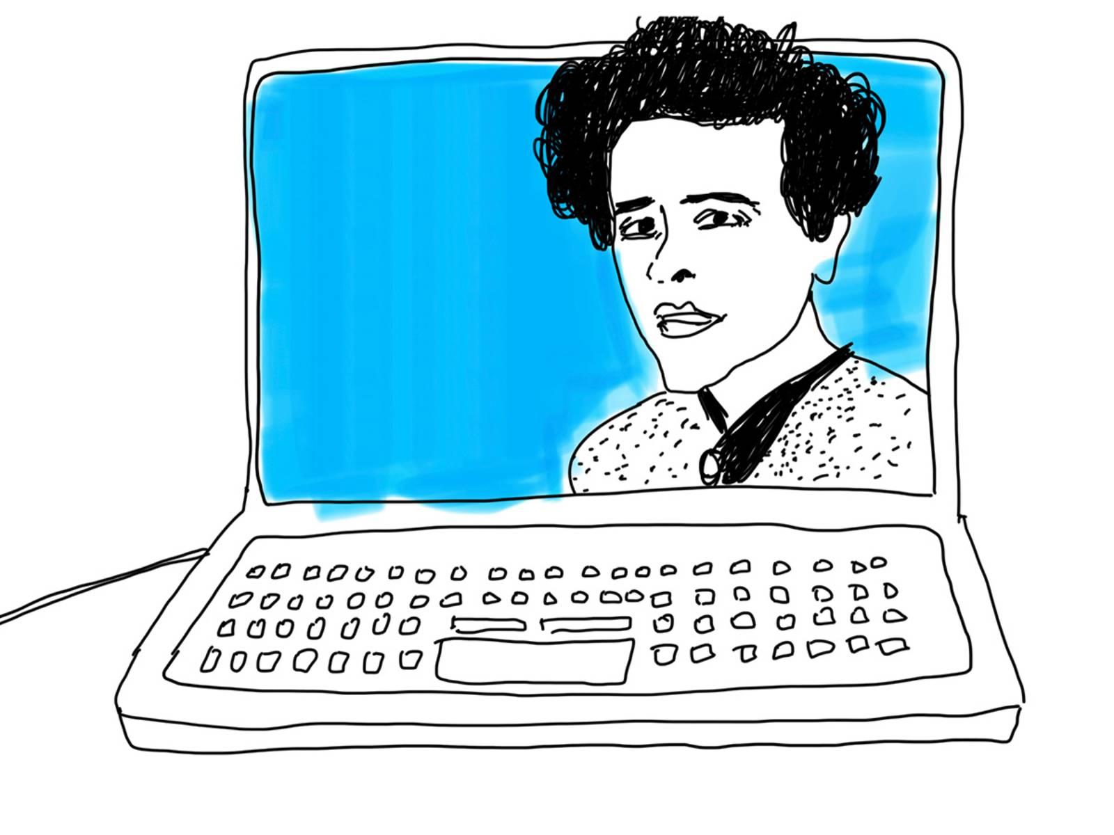 Eine Zeichnung, die ein Porträt Hannah Arendts auf einem Laptop-Bildschirm zeigt