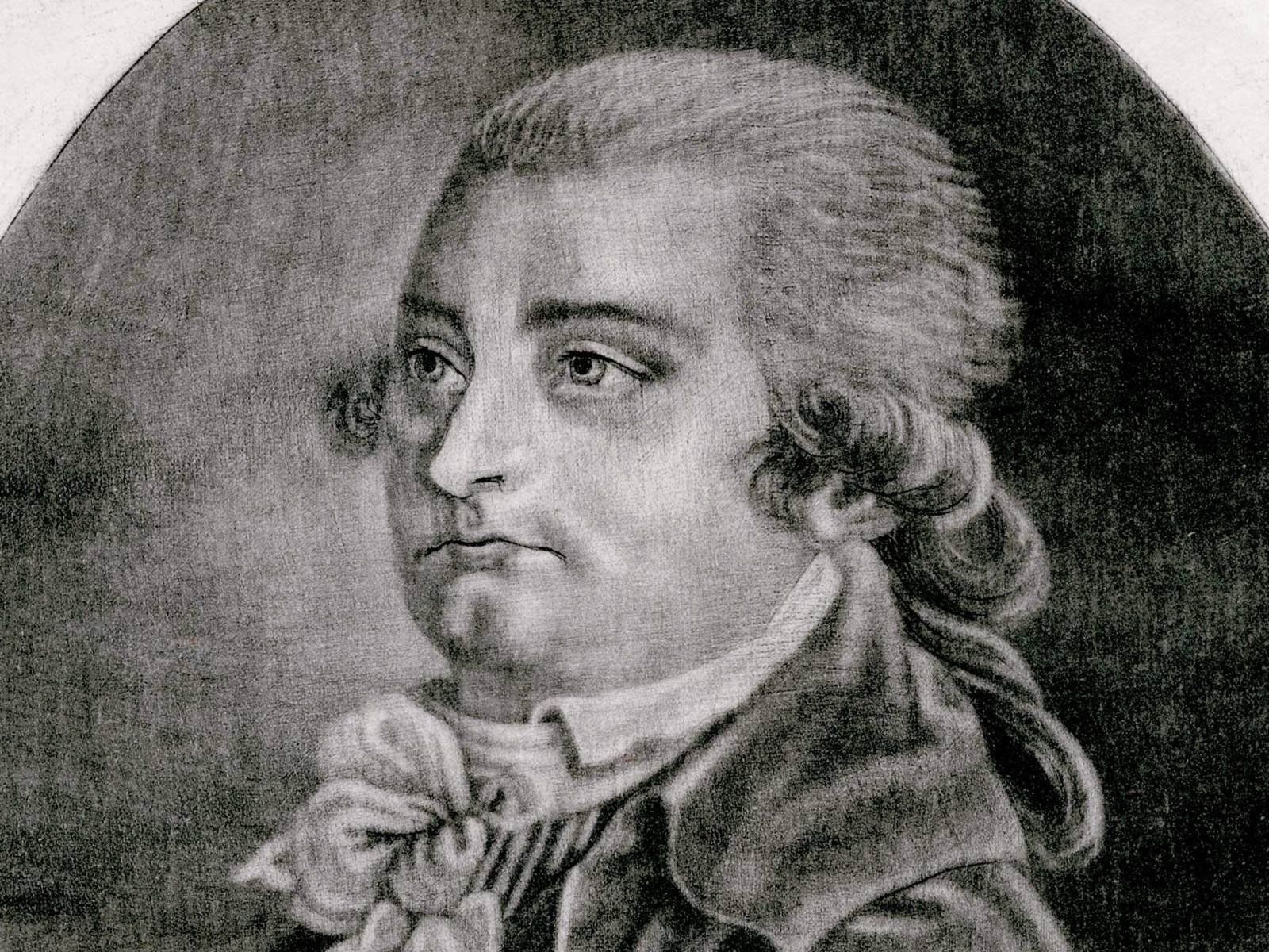 Porträt von August Wilhelm Iffland mit Perücke und gebundenem Halstuch