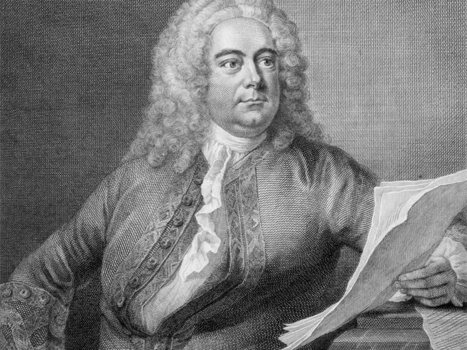 Grafik in Kupferstichtechnik: Der Komponist mit Lockenperücke hält Notenblätter in der Hand