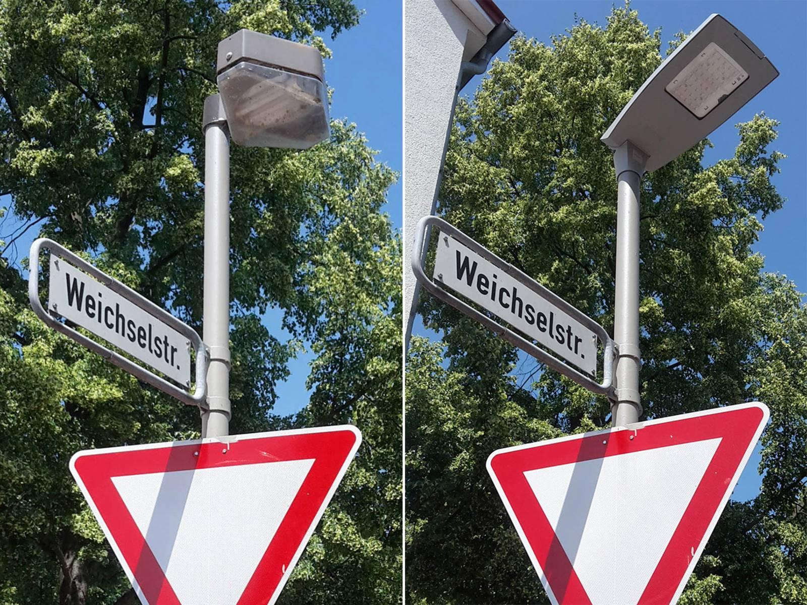 Die Straßenbeleuchtung in der Weichselstraße– vorher (links), nachher (rechts)