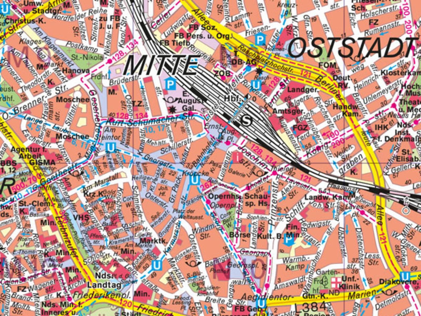 Ein Kartenausschnitt der Innenstadt von Hannover.