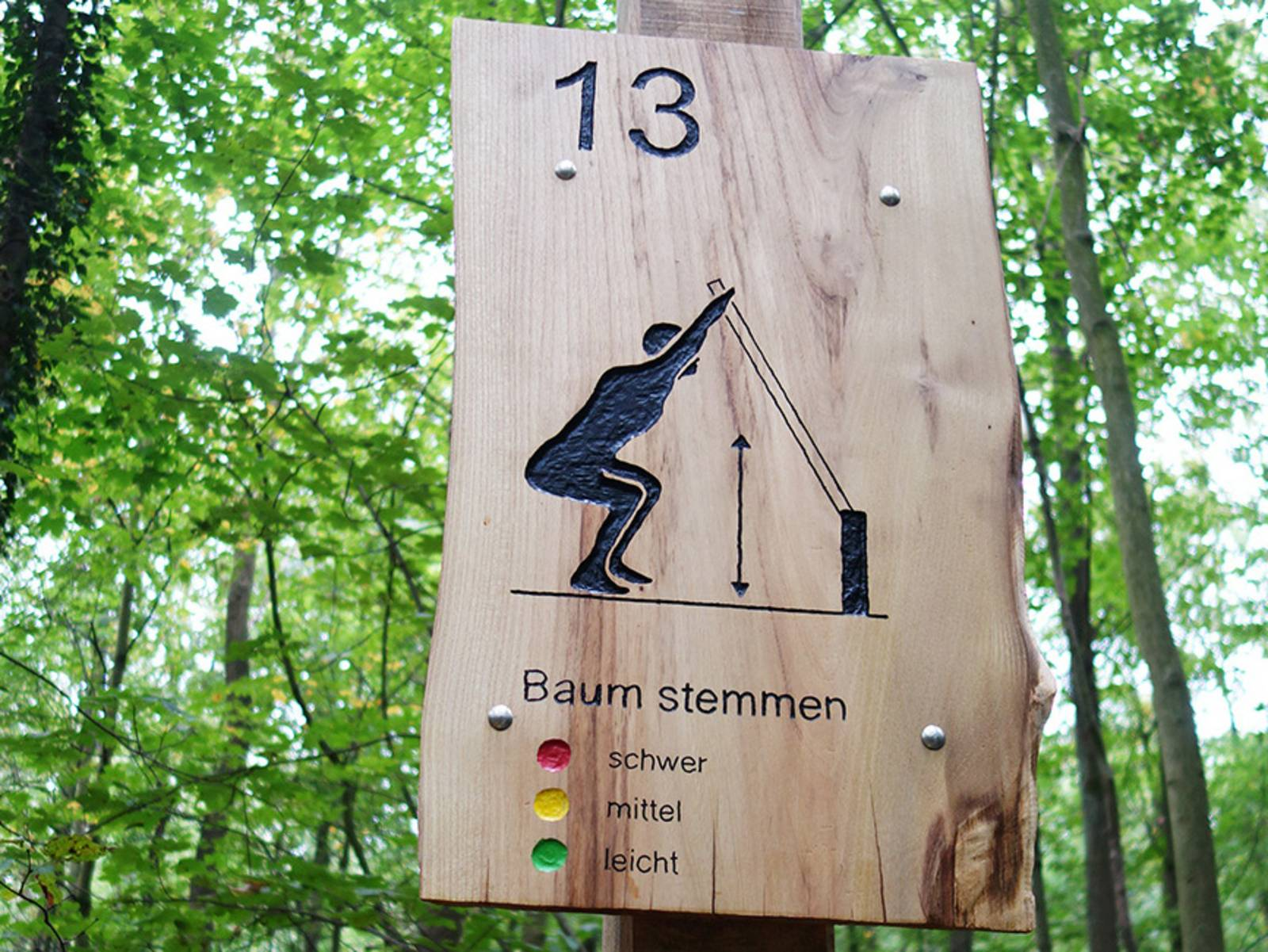 """Ein Holzschild an einem Baum. Darauf stehe eine 13 und """"Baum stemmen"""". Es ist Teil des Trimm-Dich-Pfades in der Eilenriede."""