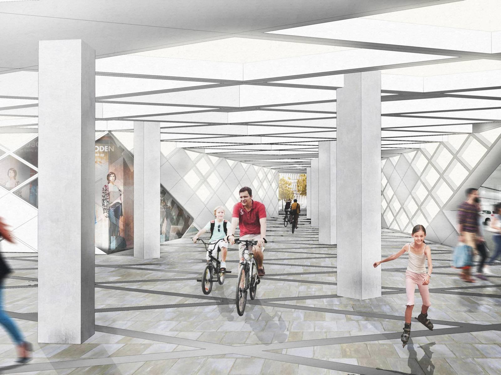 Visualisierung, die Menschen zu Fuß und auf Rädern, in einem hellen Tunnel zeigt.