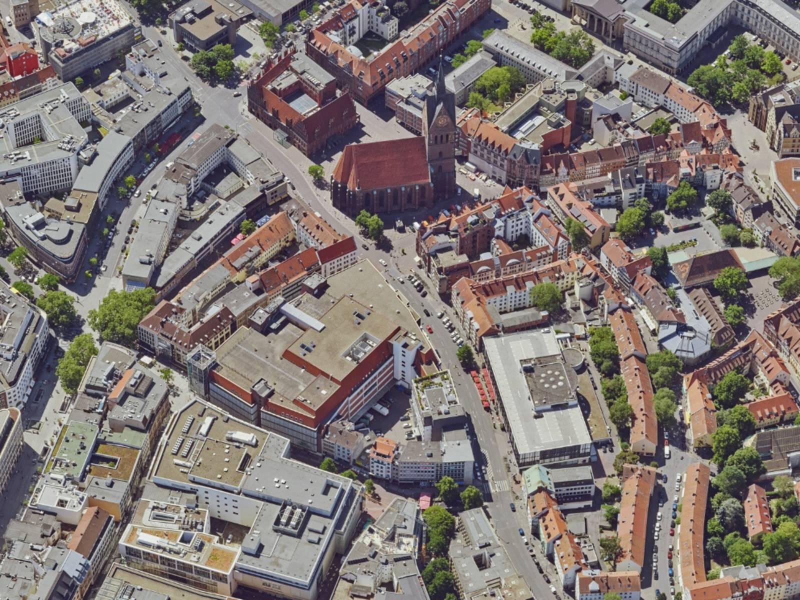 Ein Teil der hannoverschen Innenstadt von oben.