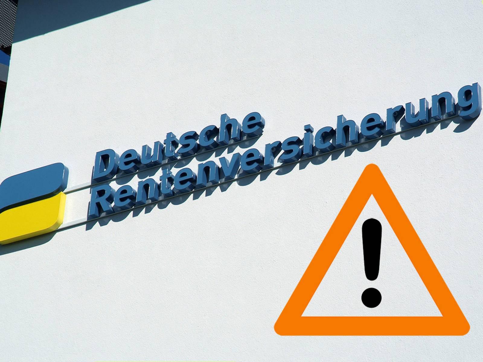 Das Logo der Deutschen Rentenversicherung mit einem Achtungs-Hinweisschild