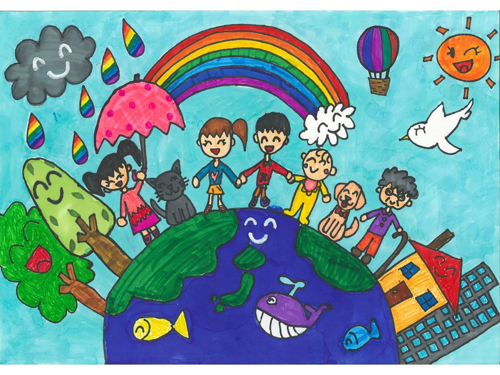 Ein gemaltes, buntes Bild, auf dem unter anderem die Erdkugel und fröhlich aussehende Kinder zu sehen sind.