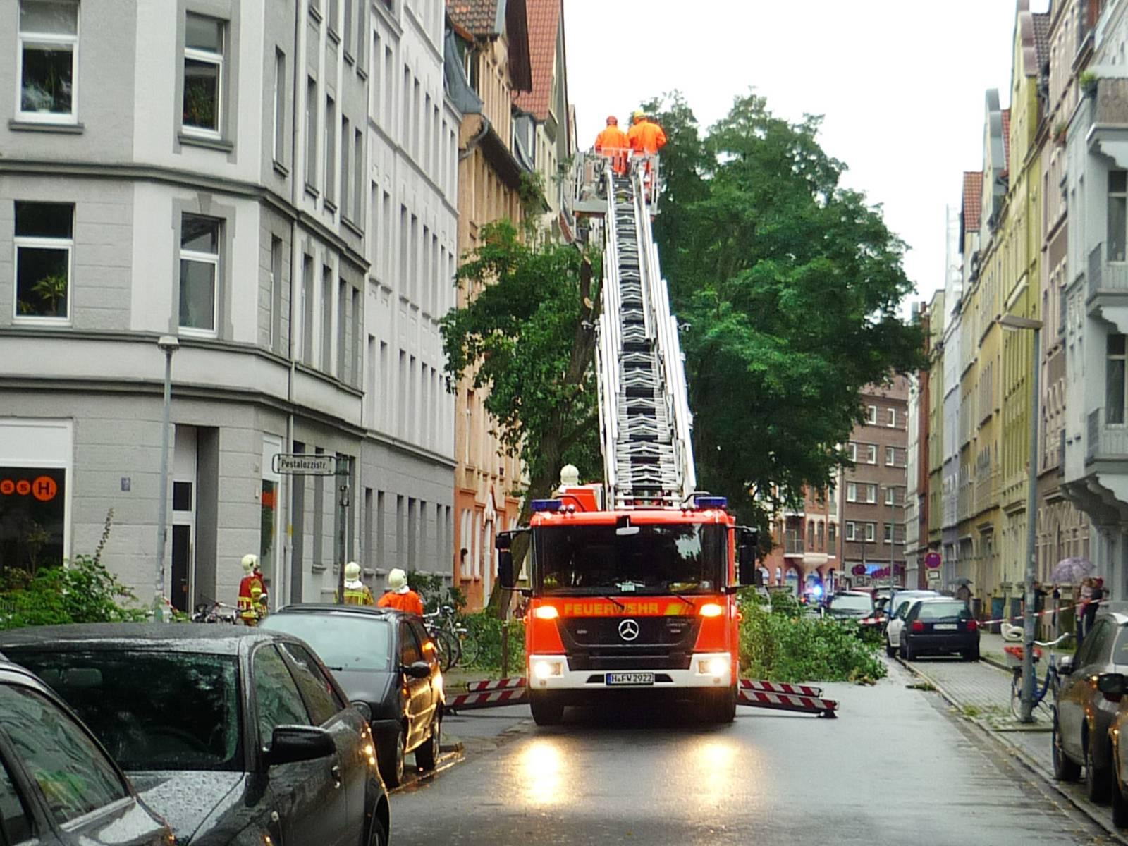 Feuerwehrfahrzeug in einer engen Straße. Der umzustürzen drohende Baum wird von Einsatzkräften der Feuerwehr begutachtet.