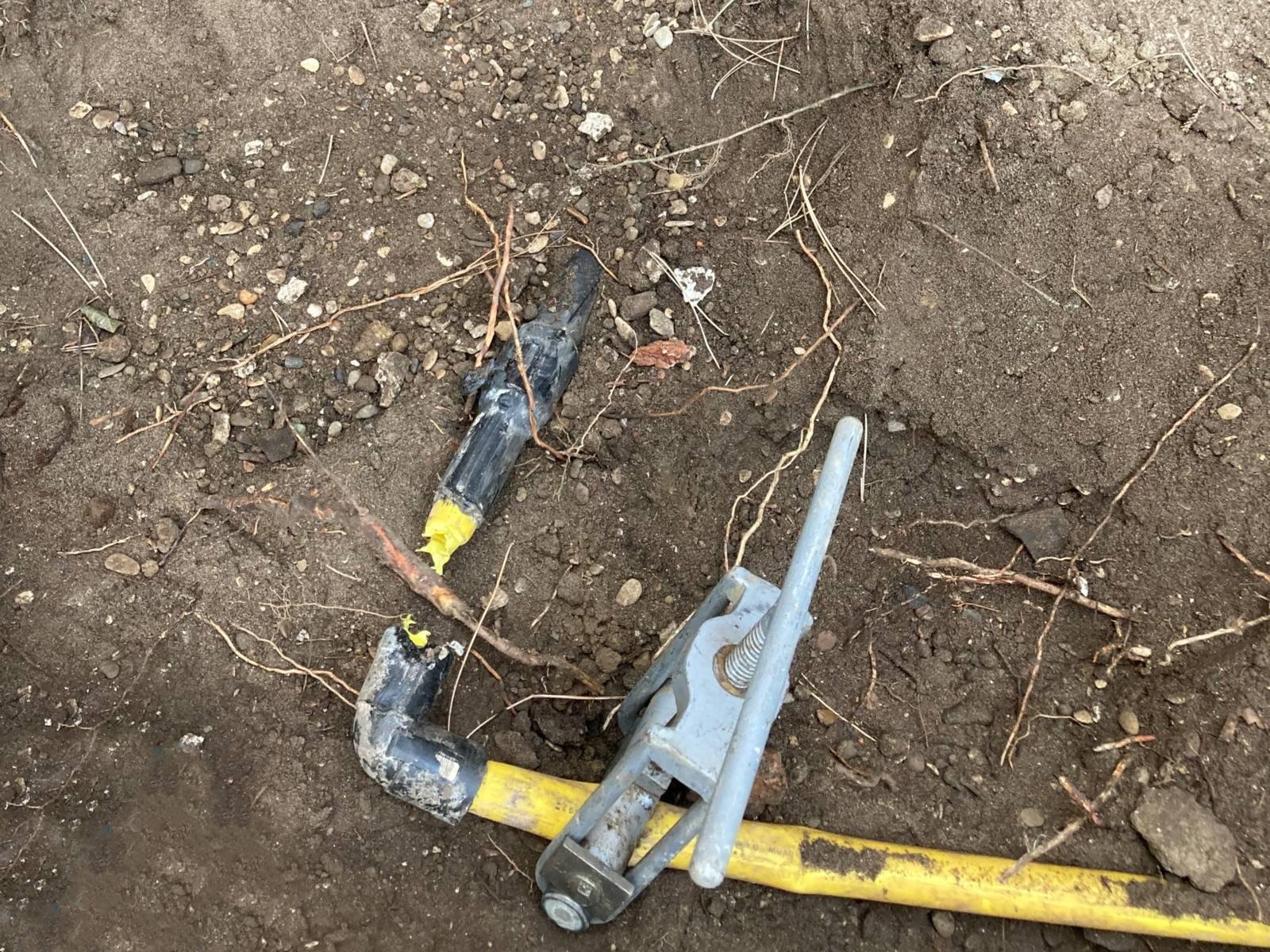 Eine kaputte Gasleitung