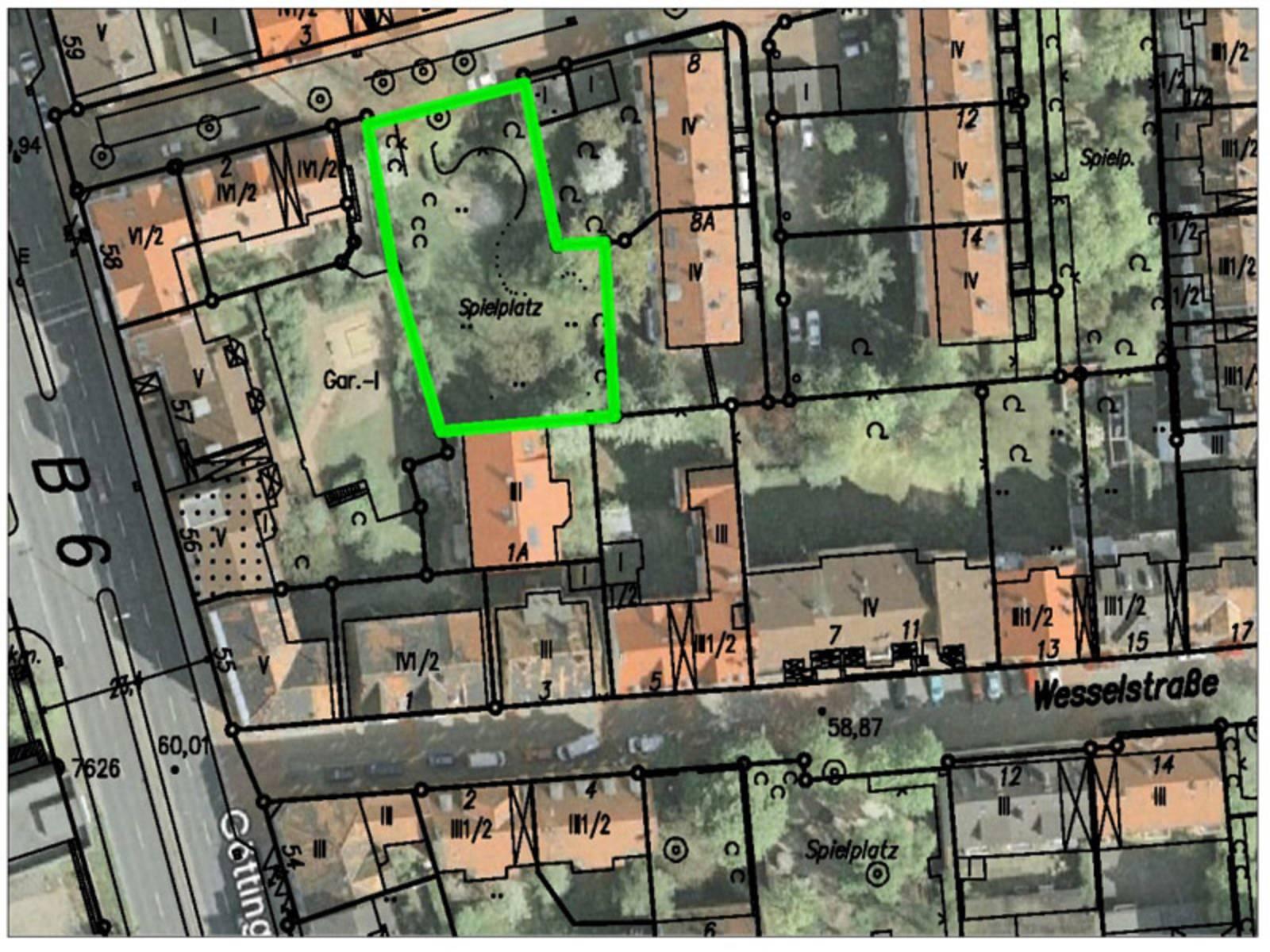 Kartenausschnitt, auf dem die Lage des Spielplatzes Behnsenstraße West eingezeichnet ist
