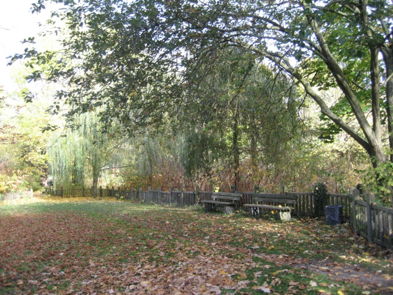 Bänke im Herbst am Spielplatz Leineinsel