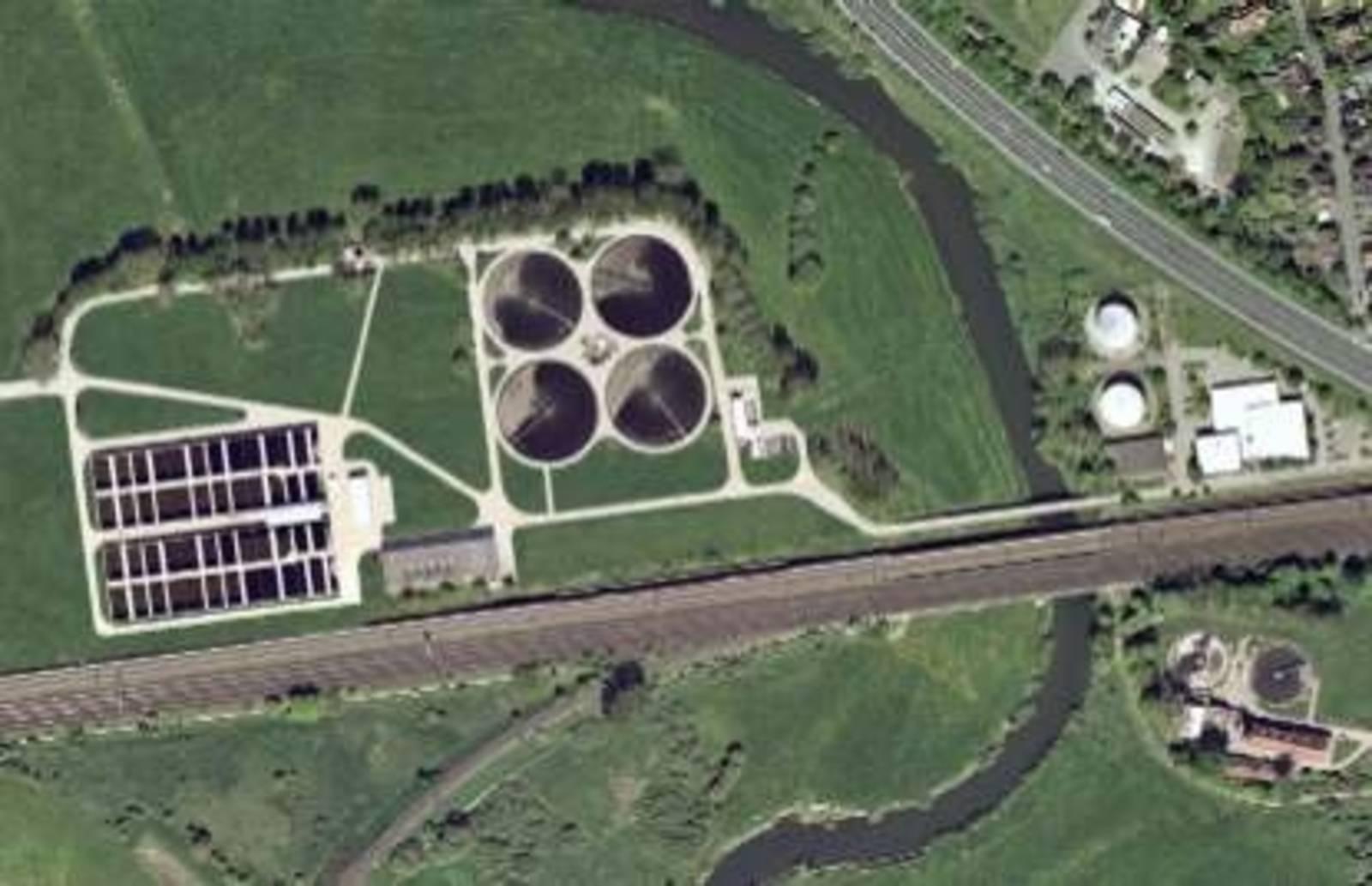 Luftbild der Kläranlage Herrenhausen