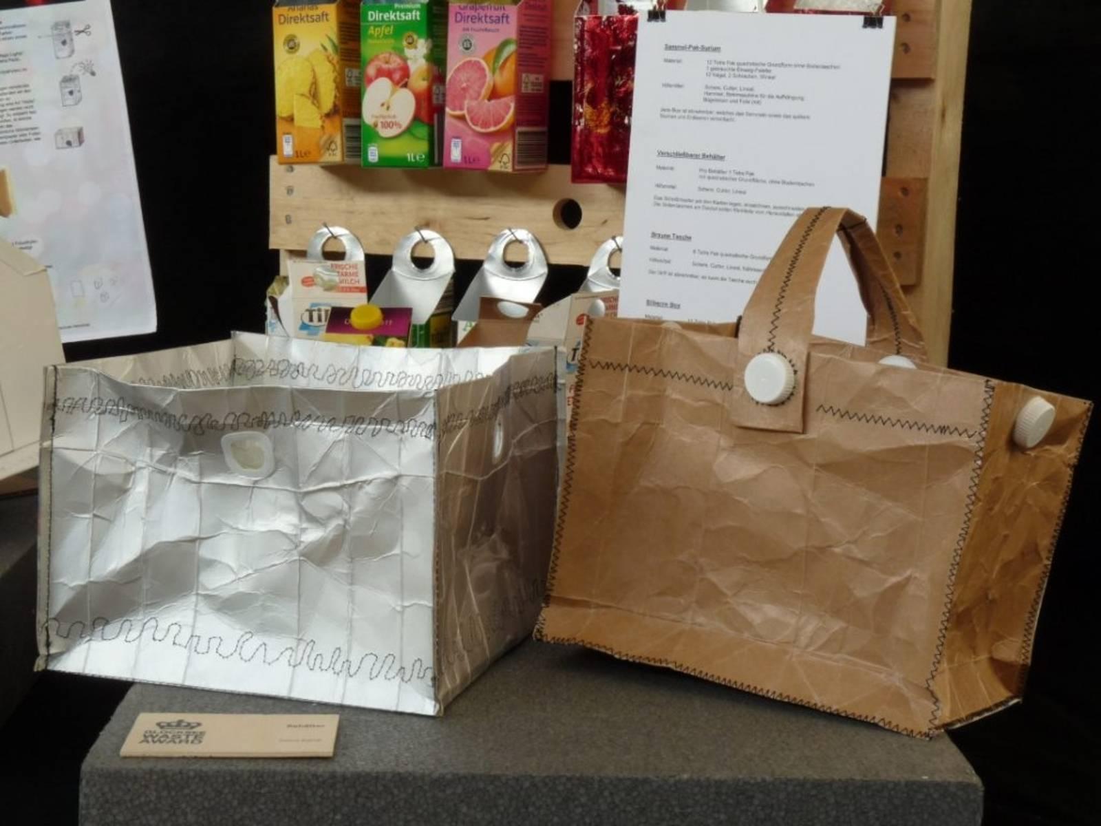 Taschen und Sammelbehälter aus alten Getränkeverpackungen
