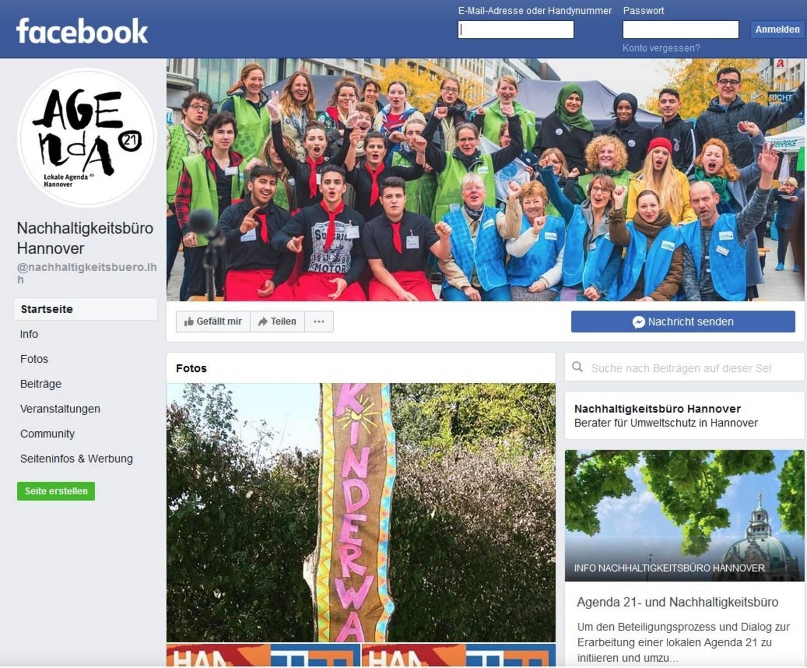 Screenshot der Facebookseite