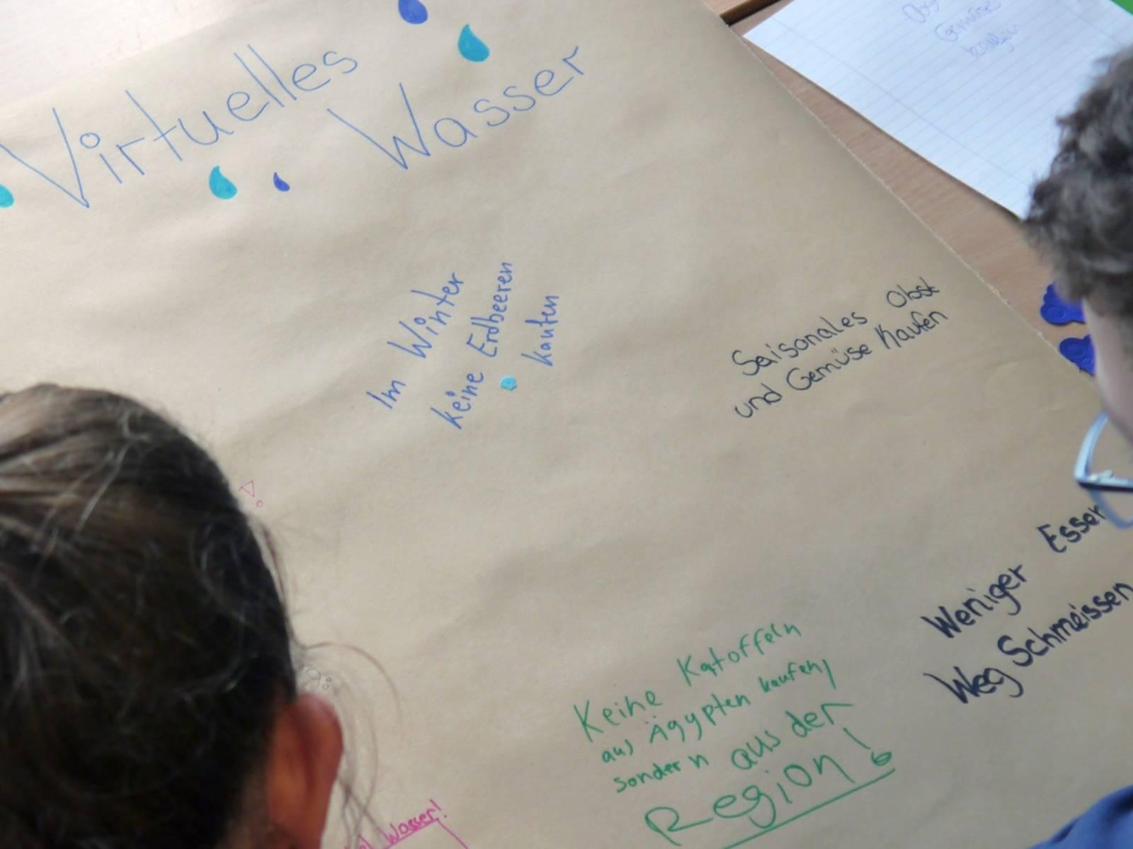 Ein Mädchen und ein Junge sitzen an einem Tisch, auf dem eine große Papierrolle liegt; sie beschriften sie mit Ideen zur Reduzierung des Wasserverbrauchs.