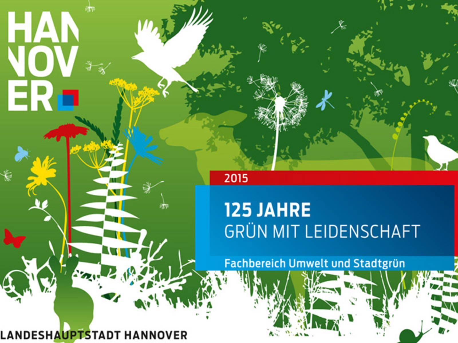 Wimmelbild mit schematischen Darstellungen von Tieren und Pflanzen in einer parkähnlichen Umgebung