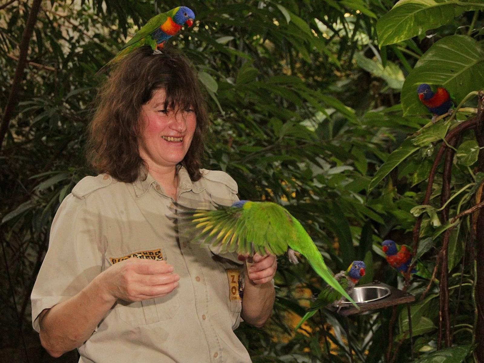 Frau mit Papageien.