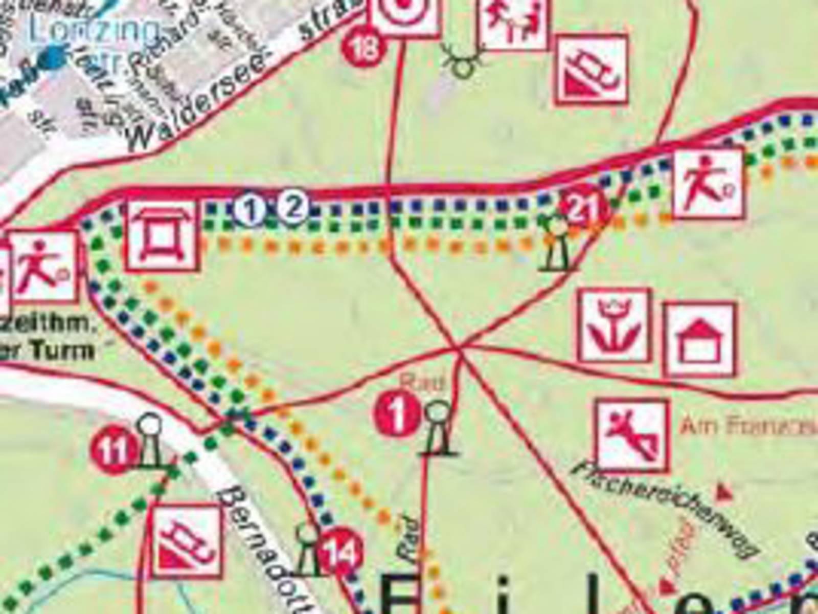 Ausschnitt einer Landkarte mit Freizeitsymbolen