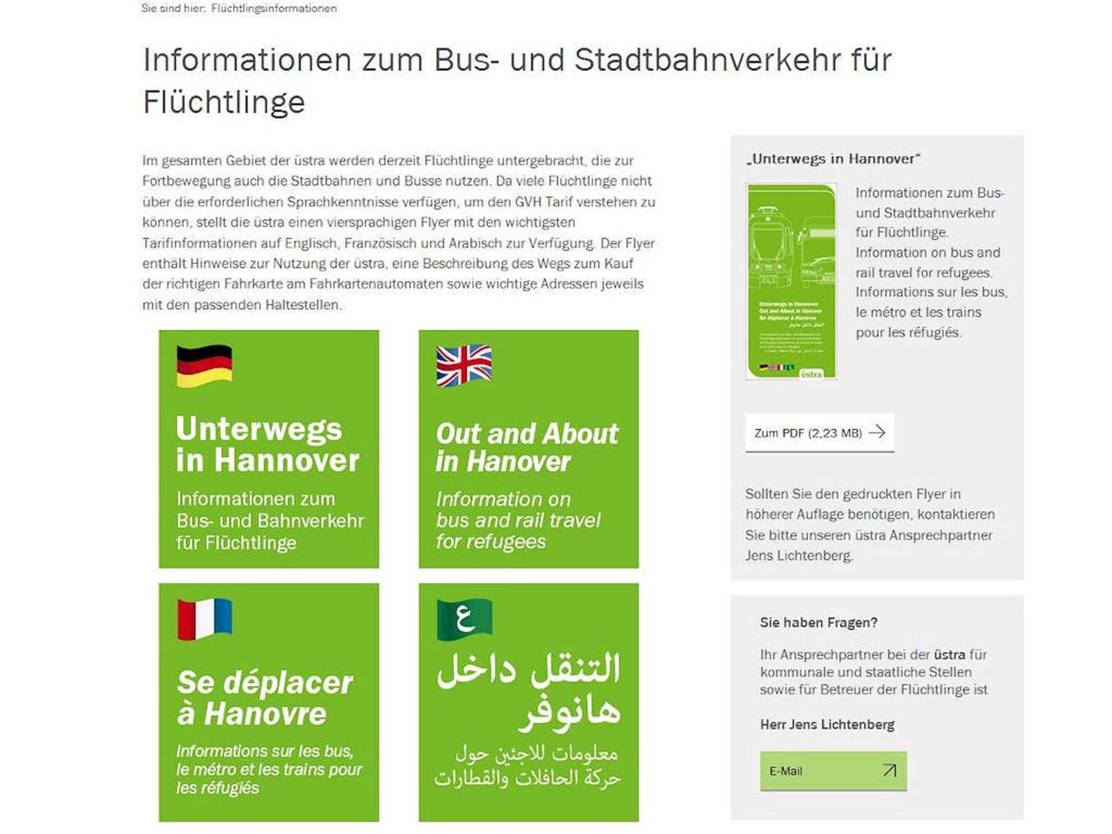 """Screenshot einer Seite mit Text: """"Informationen zum Bus- Und Stadtbahnverkehr für Flüchtlinge"""""""