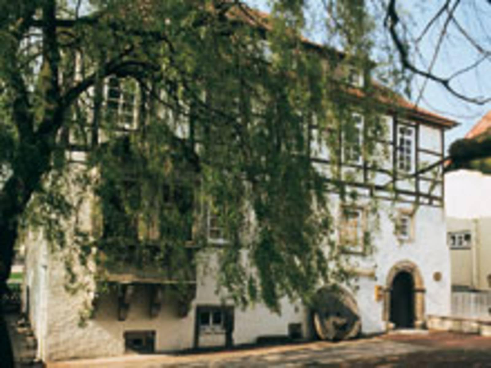 Fachwerkgebäude weiß gestrichen und Baum davor