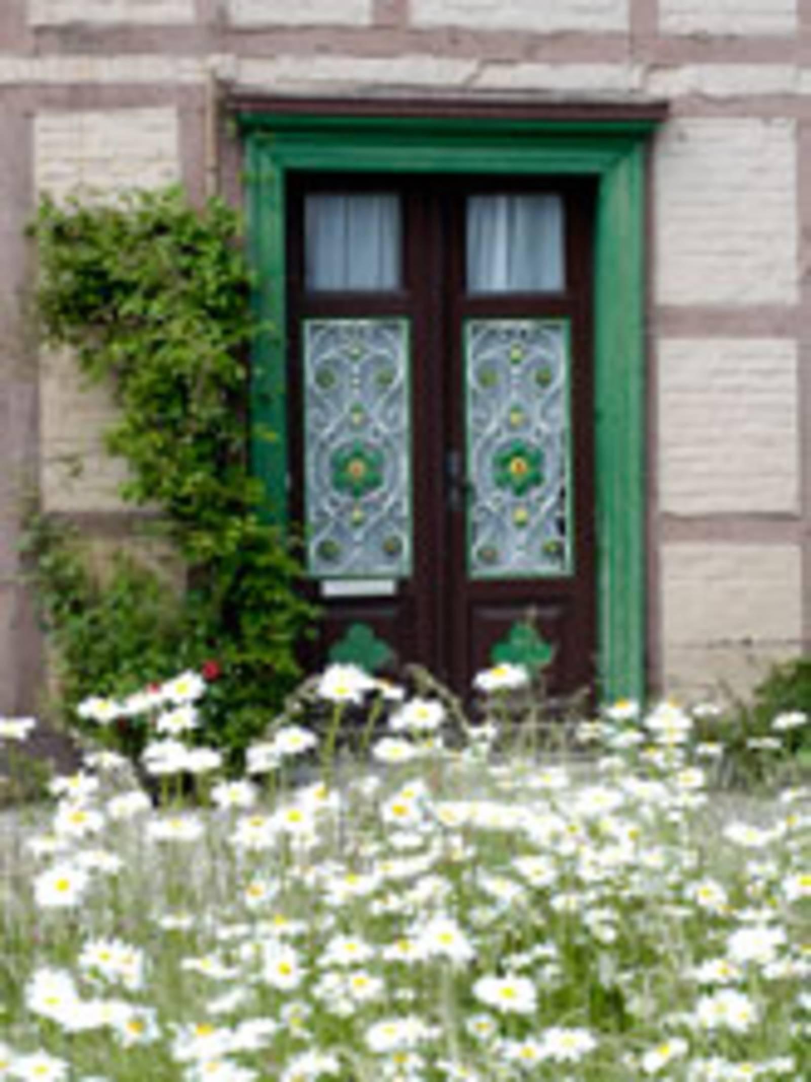 Im Vordergrund des Bildes blühen weiße Margeriten. Dahinter befindet sich eine Eingangstür eines Fachwerkhauses. Die braune Tür hat eine grünen Türrahmen. Links von der Tür befindet sich eine Rankpflanze an der Fassade.