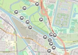 Sreenshot einer Karte, die die Wegepunkte des Bounds Wasserpfade zeigt.