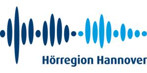 """Logo mit Schriftzug """"Hörregion Hannover"""" in Blautönen"""
