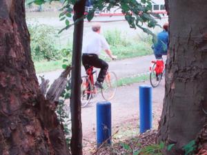 Blick zwischen zwei Bäumen hindurch auf zwei blaue Pfähle und zwei Radfahrer
