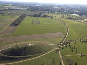 Luftbild: Blick auf einen künstlichen Hügel und Felder, im Hintergrund Wald