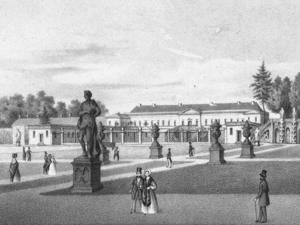 Lithographie des Großen Gartens, im Hintergrund das Schloss Herrenhausen
