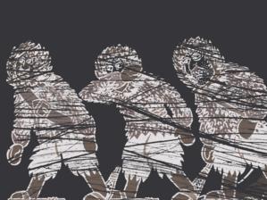 Zeichnung dreier Männer in einem Schneesturm.