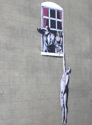 """Hanging man"" vom Street-Art Künstler Banksy"