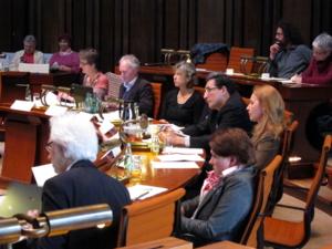 Zwölf Personen sitzen in zwei Sitzreihen im Viertelkreis hinter Pulten. Einige schauen in Richtung der SPD-Fraktion auf der gegenüberliegenden Seite, andere auf vor sich liegende Papiere. Ein Mann schaut in sein aufgeklapptes Notebook.