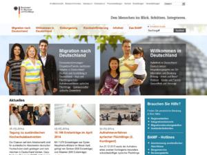 Screenshot der Homepage des Bundesamts für Migration und Flüchtlinge